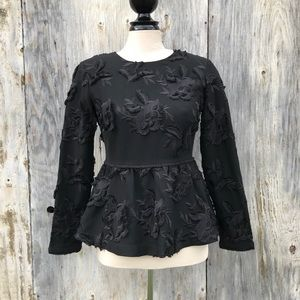 Club Monaco Black Peplum Embroidered Flower Top